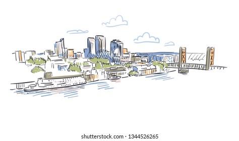 Califirnia Sacramento vector sketch line usa landscape hand drawn