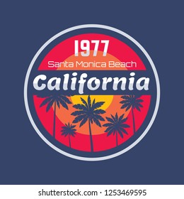 California 1977 - vector illustration concept in vintage graphic style for t-shirt and other print production. Palms, sun. Badge logo design. Retro style. Santa Monica beach.