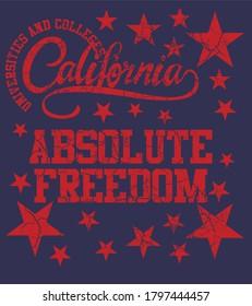 California Absolute freedom graphic design vector art