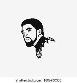 California, America - September 2 2020: Chadwick Boseman Vector, the American actor . He is known for his portrayal of T'Challa / Black Panther in the Marvel Cinematic Universe