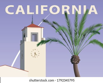 California architecture style building and a palm tree on the background of a space rocket launch – poster, vector illustration