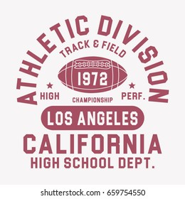 California athletic sport typography, tee shirt graphics, vectors