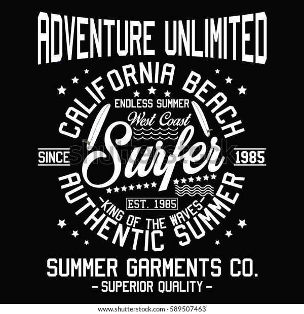 California Authentic Summer Adventure Unlimited Surfer Stock Vector