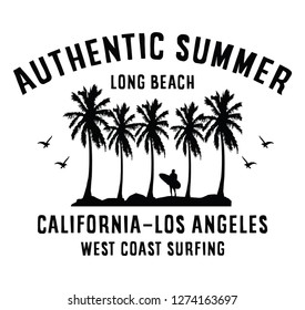 California authentic summer, long beach, west coast surfing slogan typography, t-shirt graphics, vectors