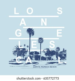 California beach illustration, typography, tee shirt graphics, vectors