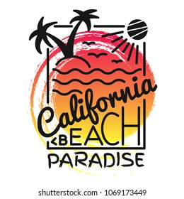California beach paradise print for t-shirt. Vector illustration on the theme of surf and surfing. Fashion Slogan, Typography, t-shirt graphics, poster, print