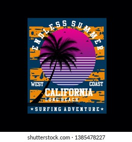 california beach surf summer images tee element vintage graphic t shirt print vector illustration design