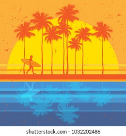 California beach, surfer abstract color poster. Vector illustration