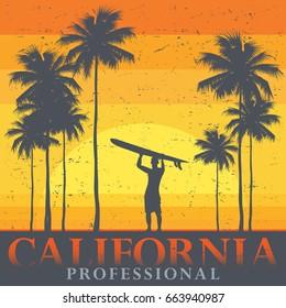 California beach, surfer poster. Vector illustration