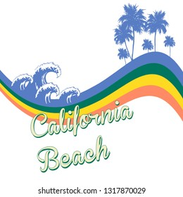 California Beach Text with Palm Tree and Vector Waves for Fashion and Poster Print design - Vektör