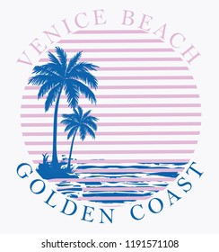 California beach typography, t-shirt graphics, vectors
