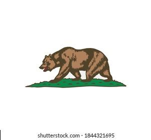 California bear. flag of California. vector illustration