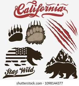 California Bear, grizzly footprint, paw print with claw scratches set. Vector