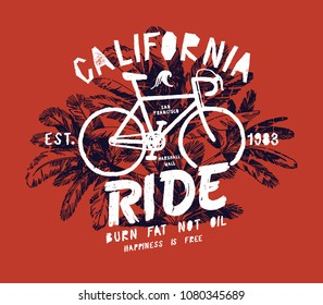 California bicycle ride - fixie bike in palm trees vintage typography print