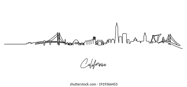 California city of the USA skyline - continuous one line drawing