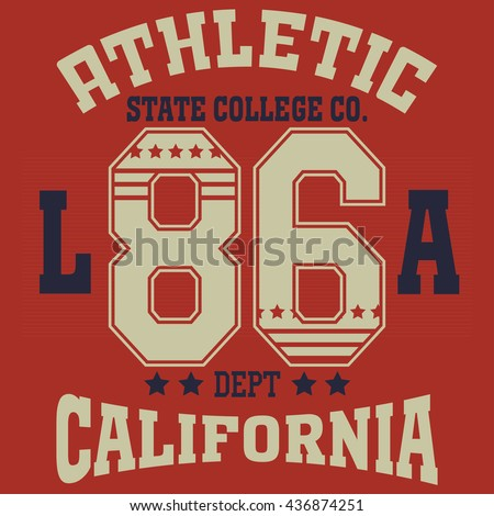 e98624971 California College fashion design print for t-shirt. Sport Typography,  vintage Vector