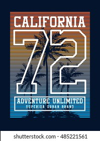 California college typography for t-shirt print , vector illustration