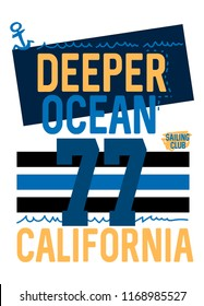 california deeper ocean,t-shirt design