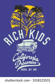 California dreaming palm beach and cars  graphic design vector art