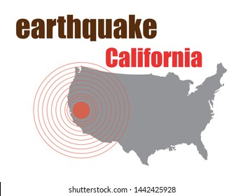 California Earthquake Concept isolated on white background ,Vector Illustration
