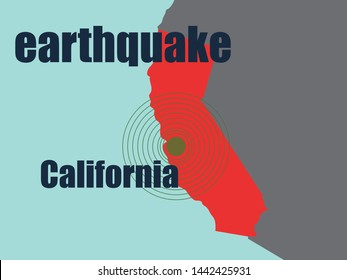 California Earthquake Concept ,Vector Illustration
