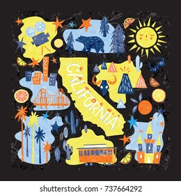 California emblem - Tourist Attractions concept - hand drawn unique vector illustration with main state symbols, map silhouette and lettering. Design for souvenir, greeting card, poster.