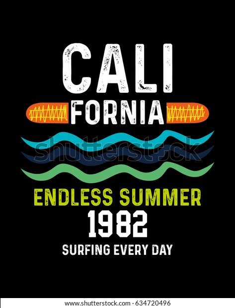 California Endless Summertshirt Print Poster Vector Stock Vector