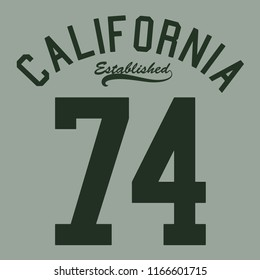 california established 74 for t-shirt print