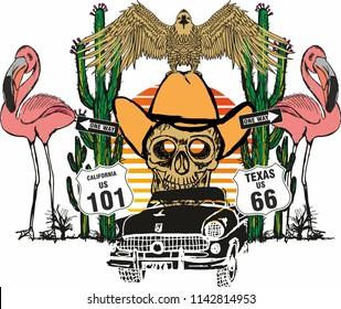 California flamingo graphic design vector art