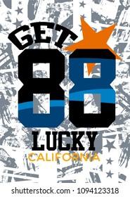 california get lucky,t-shirt print poster vector illustration