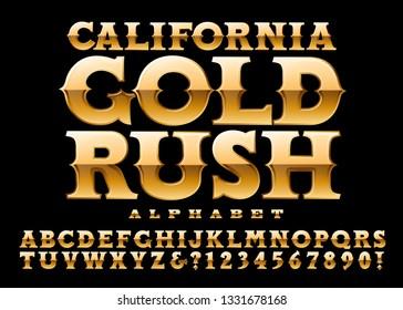California Gold Rush is an old-west style metallic golden 3d alphabet