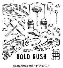 California gold rush vector hand drawn vintage outline graphic set. Historical gold mining tools. isolated on white background