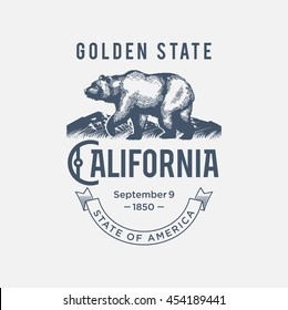 California Golden State, a stylized emblem of the state of America, bear, blue color