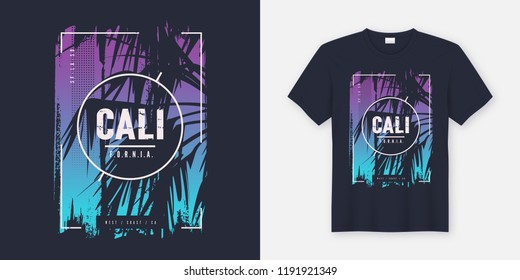 California graphic tee vector design with palm tree silhouette. Global swatches.