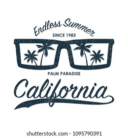 California grunge print for t-shirt with sunglasses and palm trees. Summer typography for clothes, original apparel. Vector illustration.