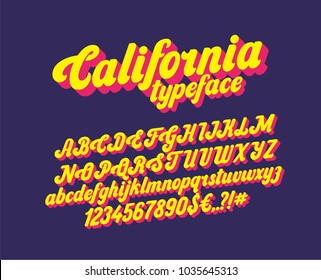 California handwritten lettering headline font. Vector script typeface.