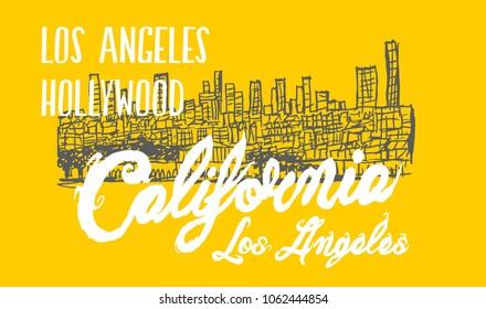 California hollywood graphic design vector art