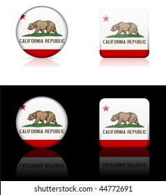 California Icon on Internet Button Original Vector Illustration AI8 Compatible