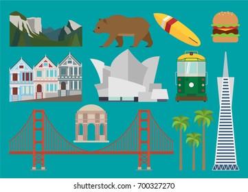 California illustration, vector, landmark, travel, culture, Los Angeles, San Francisco, usa