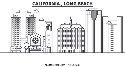 California  Long Beach architecture line skyline illustration. Linear vector cityscape with famous landmarks, city sights, design icons. Landscape wtih editable strokes
