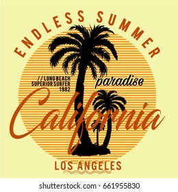 California long beach, superior surfer, endless summer typography, t-shirt graphics, vectors