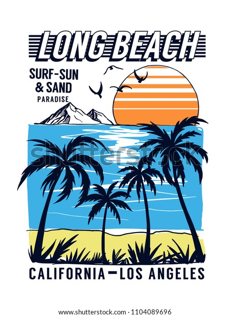 California, Los Angeles Beach theme vector illustrations, for t-shirt and other uses.