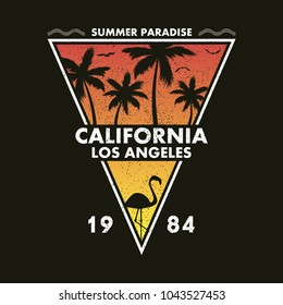 California, Los Angeles - grunge typography for design clothes, t-shirt with flamingo and palm trees. Form of a triangle. Graphics for print product, apparel. Vector illustration.