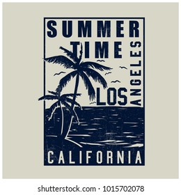 California Los Angeles slogan t-shirt. Palm vector and typography.