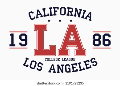 California, Los Angeles slogan typography graphics for t-shirt. College print for apparel. Varsity LA stamp. Vector illustration.