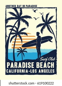 California, Los Angeles surfer print design for t-shirt and other uses