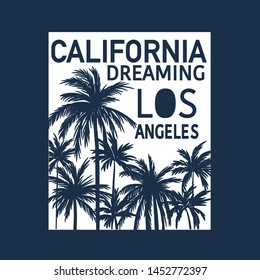 California, Los Angeles t-shirt design. Palm and typography vector print.