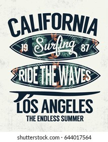 California, Los Angeles vector Surfing illustration with Hawaiian flowers. For t shirt and other uses