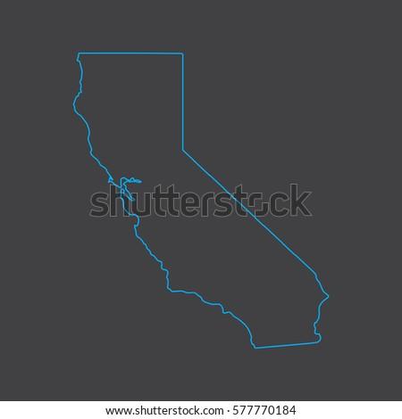 California Map Shutterstockcom.California Map Blue Outline Stroke Line Stock Vector Royalty Free