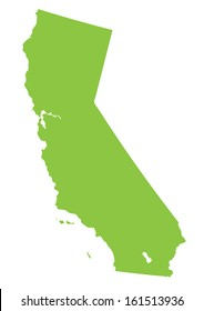 California map- green on white background